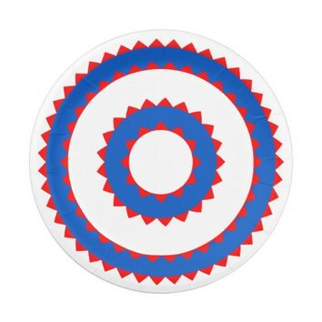 Red, White and Blue Paper Plates 7 Inch Paper Plate