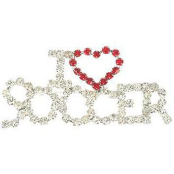 I Heart Soccer Rhinestone Metal Pin And Brooch