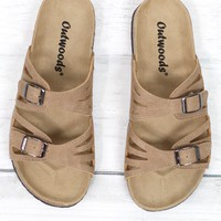 Cut Out Bork Slide On Sandals Leather Look {Taupe}