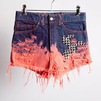 High Waisted, Bleached Bottom & Dip Dyed Hyper Red, Pyramid Studded on the front, Denim Cutoff Shorts