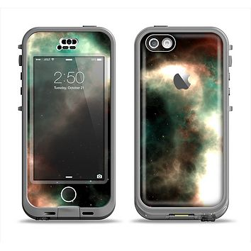 The Dark Green Glowing Universe Apple iPhone 5c LifeProof Nuud Case Skin Set