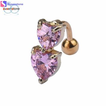 SUSENSTONE Reverse Crystal Bar Belly Ring Gold Body Piercing Button Navel Two Heart