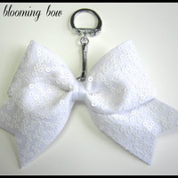Cheer Bow Keychain - White Sequin