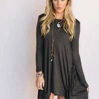 Fringed Long Sleeve Dress In Charcoal