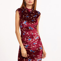 Burgundy Floral Print Mock Neck Cap Sleeve Bodycon Dress | MakeMeChic.COM