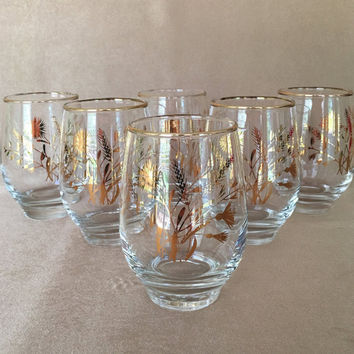 Libbey Roly Poly, Golden Wheat Cotton, Vintage Barware, Fancy Table Glass, 70s Drinking Glass, Round Base Glass, Shiny Gold Design, 70s Chic