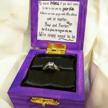 "Nightmare before Christmas ""We Were Simply Meant to Be"" Disneys Tim Burtons Jack and Sally inspired Engagement Ring Box with Quote inside"