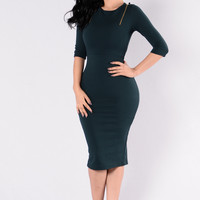Get It Girl Dress - Hunter Green