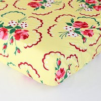 Fitted Crib Sheet: Emma's Retro Floral in Yellow, Pink and Green