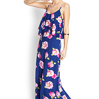 FOREVER 21 Femme Flounce Maxi Dress Navy/Magenta Small