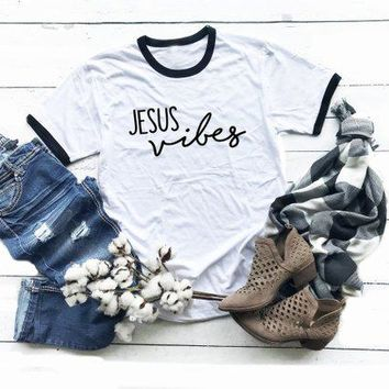 Jesus Vibes T-Shirt Christmas slogan ringer fashion women fashion tees believer Baptism church cotton tees vintage tops tshirt