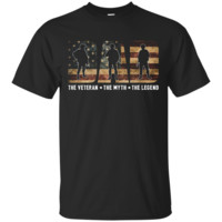 Mens Dad The Veteran T-shirt Best Gift For Father's Day_Black T-shirt