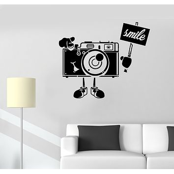 Wall Decal Camera Photo Smile Shooting Video Vinyl Sticker (ed1652)