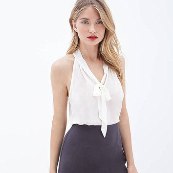 Solid Bow Ribbon Back Slit Chiffon Top