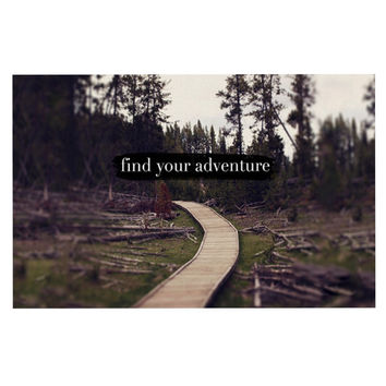 "Leah Flores ""Find Your Adventure"" Nature Quote Decorative Door Mat"