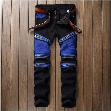 European American Style Mens Jeans Luxury Brand Men Jeans Trousers Stripes Slim Straight Zipper Black Red Jeans Pants For Men