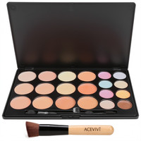 20 Colors Makeup Face Cream Concealer Palette + Powder Brush