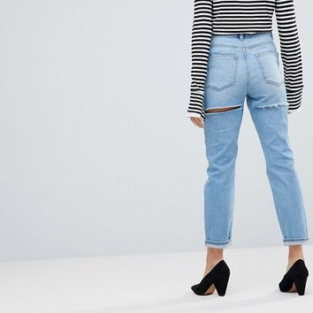 ASOS PETITE FARLEIGH High Waist Slim Mom Jeans In Ariel Light Stone Wash With Thigh rip Detail at asos.com