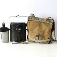 SWISS ARMY Bread Bag, Crossover Messenger Bag, Haversack, with Utensils, Military Waterproof Canvas Bag, Fishing, Made in Switzerland 1960s