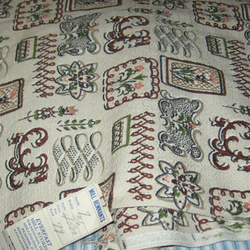vintage retro upholstery fabric, Everfast fabric, 47 x116 in