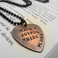 Custom Guitar Pick Necklace Hand Stamped by FiredUpLadiesHammer