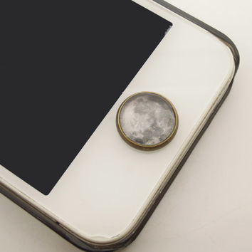 1PC Retro Glass Epoxy Transparent Times Gems The Moon Alloy Cell Phone Home Button Sticker Charm for iPhone 4s,4g,5,5c Kids Gift