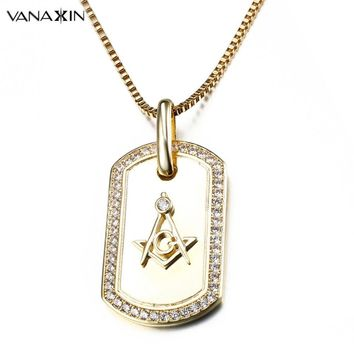 VANAXIN Gold/Silver Color Hip Hop Iced Out Pendant G Necklace Initial Masonic Symbol Compass Free Mason AAA+ CZ Stone Jewelry