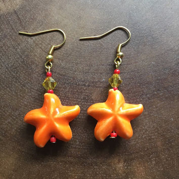 Star Earrings, Lampwork Earrings, Orange Earrings, Starfish Earrings, Beach Earrings, Ocean Earrings, Summer Earrings, Glass Earrings
