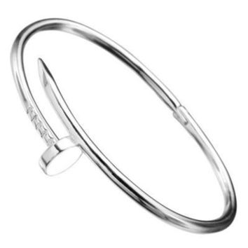 Ladies Nail Bracelet Stainless Steel Classy Brand New Womens Unique White
