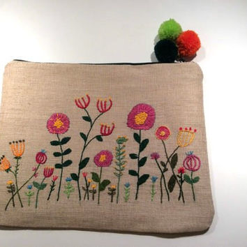 Linen pouch hand embroidered with flowers, One of a kind handmade pouch, ipad case , accessories case