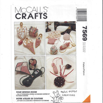 McCall's 7569 Pattern for Victorian Sewing Accessories, Etui, Needle Book, Pin Cushion, From 1995, FACTORY FOLDED, UNCUT, Vintage Pattern