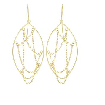 14K Yellow Gold 48X20mm Open Marquis with Layers Of Diamond Cut Cable Chain Strand Drop Earring WitH Euro Wire Clasp