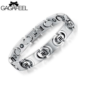 Fashion Men Titanium Steel Health Magnetic Bracelet Fylfot Bangle God Bless Lucky Wristband Male Domineering Jewelry Gift B3268