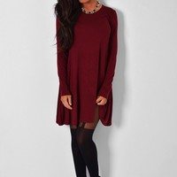 Vintro Wine Long Sleeved Swing Dress | Pink Boutique