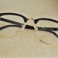 Clear Black and Gold Half Frame Horned Rim Glasses Vintage Retro 90s