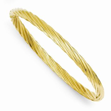 14k Yellow Gold 3/16 Oversize Swirl Hinged Bangle Bracelet