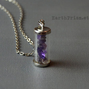 Amethyst Chips in Glass vial pendant necklace | Crystal chips | Glass vial necklace | Purple Crystal Necklace | Wish bottle