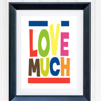 Love MUCH Typography Print Poster Anniversary Wedding Engagement Gift Modern Mid Century Wall Art Colorful **Buy 2 Get One FREE**