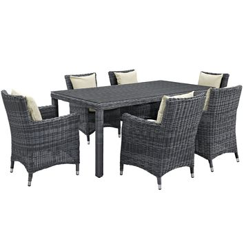 Summon 7 Piece Outdoor Patio Sunbrella Dining Set EEI-2330