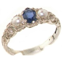Ladies Solid 925 Sterling Silver Natural Sapphire & Cultured Pearl Victorian Trilogy Ring - Size 8 - Finger Sizes 4 to 12 Available - Suitable as an Eternity, Engagement, Promise or Anniversary Ring