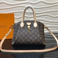 hcxx 977 Louis Vuitton LV Rivoli BB-M44543 Monogram Canvas Handbag 30.5-22-17cm Black Brown