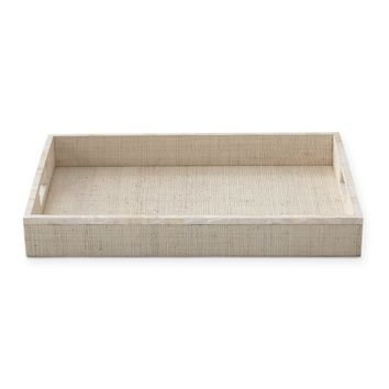 AERIN White Raffia and Shell Tray