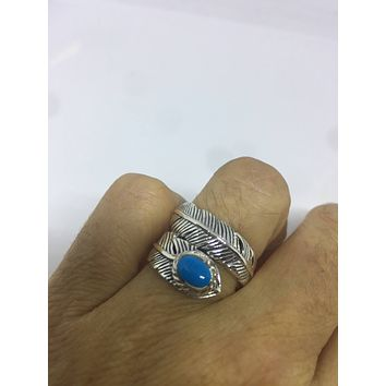 Vintage Antique southwestern Turquoise 925 sterling silver wrap feather ring