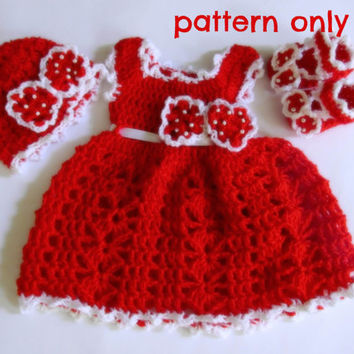 Pattern - baby dress , hat and shoes  crochet bow , three patterns in 5 size, newborn dress pattern, baby outfit pattern ,crochet  pattern
