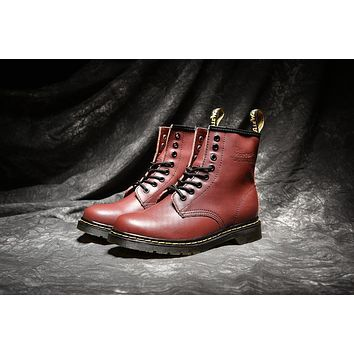 dr martens classic 8 holes high top men women boots color red brown