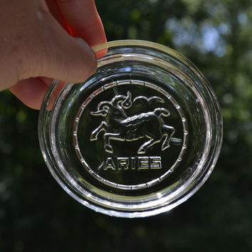 Vintage Glass Coaster Aries Zodiac Retro Decor Barware PanchosPorch