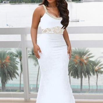 White Rhinestone Spaghetti Strap Backless Mermaid Bodycon Elegant Banquet Party Wedding Maxi Dress