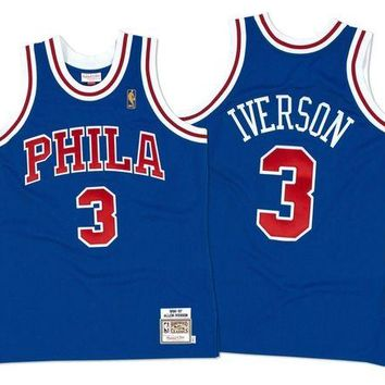 DCCKU62 Mitchell Ness Allen Iverson 19967 Authentic Jersey Philadelphia 76ers In Blue
