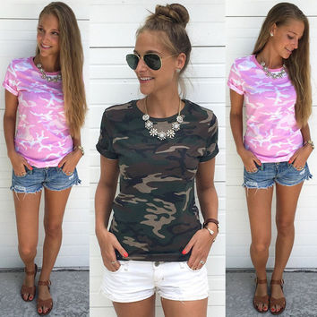 Fashion Women Ladies Tops Clothes Summer Camouflage Army Green T Shirt Short Sleeve Casual T-Shirt Camisetas Female Blusa