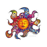 Trippy Sleeping Sun Window Sticker on Sale for $2.99 at HippieShop.com